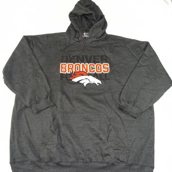 Denver Broncos Majestic Kick Return Pullover Hoodie Charcoal Size 6XL