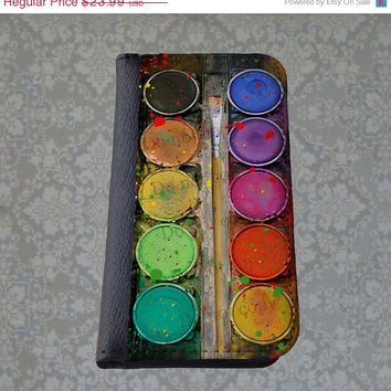 SALE Watercolor Set iPhone wallet case, Palette Samsung wallet case, Unique iPhone 5 case, Art iPhone 5S Case, Paint iPhone 6 Case, Best Gal