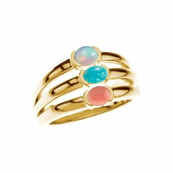 Gemstone Stack Ring- Opal, Turquoise, Coral