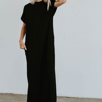 All Day Mock Neck Dress (Black)
