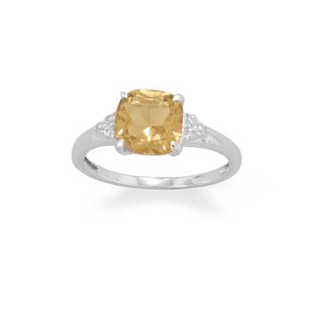Sterling Silver Citrine and CZ Band