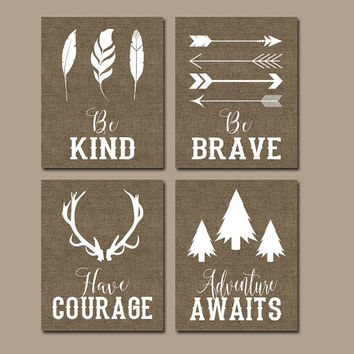 WOOODLAND QUOTE Wall Art, CANVAS or Print Boy Nursery Decor, Be Brave, Be Kind, Have Courage, Adventure Awaits, Woodland Sayings Set of 4