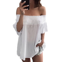 Sexy slash neck ruffles women tops Off shoulder beach  style tops Women blouses Shirts camisetas mujer #23 SM6