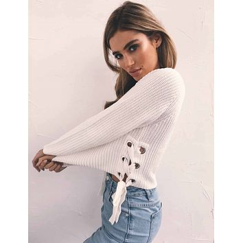 Knit Tops Winter White Round-neck Sweater [22397026330]