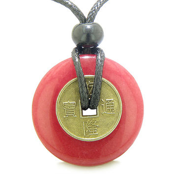 Lucky Coin Evil Eye Protection Amulet Dyed Cherry Red Quartz 30mm Donut Pendant Necklace
