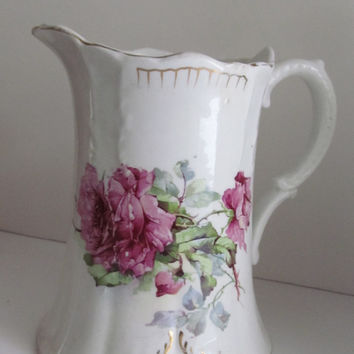 Red Roses Antique Victorian Pitcher Water Jug Pitcher Edwardian China Antique Pitcher Antique National China Co.