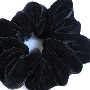 Free shipping silk hair scrunchie. Hypoallergenic hair accessories. Black silk velvet hair scrunchie. Black velvet scrunchie.