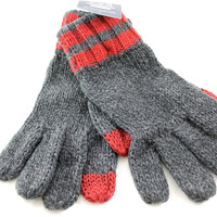 American Eagle TouchPoint Men's Charcoal Gray/Red Knit Nylon Tech Touch Gloves