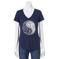 Juniors' Yin & Yang V-Neck Graphic Tee