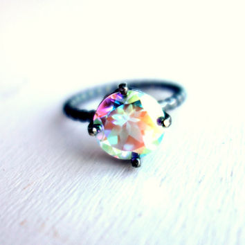 Prism Opalescent Topaz Gemstone Ring in Handmade Sterling Silver Setting