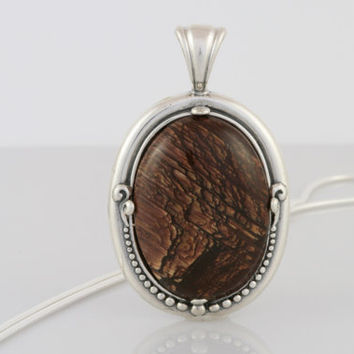 Dark Brown Picture Jasper Pendant Necklace in Sterling Silver Setting on Sterling Silver Snake Chain