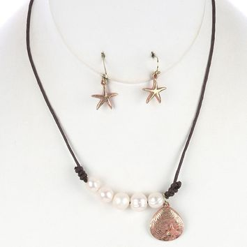 Seashell Charm Pearl Bib Knotted Cord Aged Finish Starfish Etch Necklace Earring Set