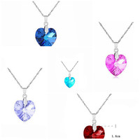 Hot sell fashion elegant heart shape pendants rhinestone women crystal necklace collier collares simple