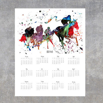 50% OFF - Year 2016 watercolor calendar, Horse race 2016 calendar, the Siena Palio art print calendar, horseback riding wall calendar [N111]