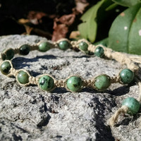 Adjustable African Turquoise Genuine Natural Semiprecious Gemstone Beaded Hemp Bracelet