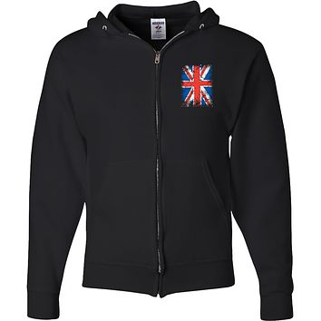 Union Jack Full Zip Hoodie Pocket Print