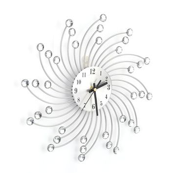 Diamond Wall Clock,Silver Metal Diamond Decorated Wall Clock for Home Office Room Modern Decor