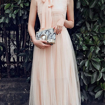 Beige Ruffle Sleeveless Tie Neck Ruched Tulle Maxi Dress