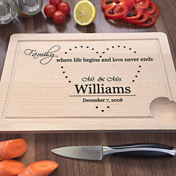 Where Life Begins And Love Never Ends - Engraved Cutting Board For Young Couple