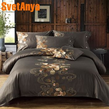 Svetanya Leaves and flowers Embroidered Sheet Pillowcase Quilt Cover Sets Egyptian Cotton Bedding Set Queen King size