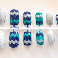 Chevron fake nails blue artificial nails glitter false nails