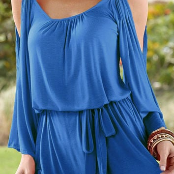 Cut Out Sleeve V-Neck Strapless T-Shirt with Sash