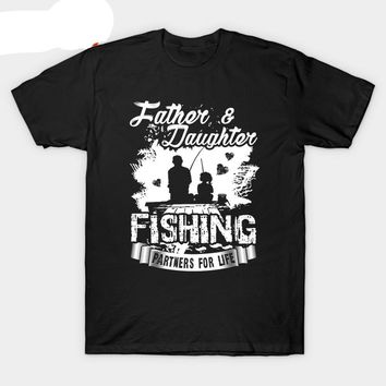 Father Daughter Fishing Partners For Life T-Shirts - Men's Crew Neck Top Tees