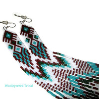 Tribal Beaded Shoulder Duster Earrings With Extra Long Fringe
