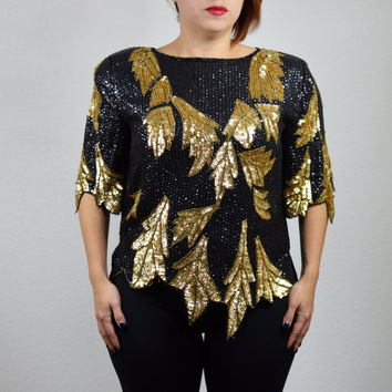 80's Vintage Glam Silk Sequin Top Scalloped Leaf Hem Black Gold Cocktail Party Evening Seperates