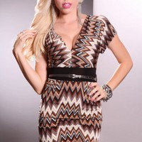 Brown Multi Short Sleeve Belted Sexy Party Dress