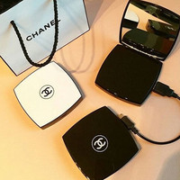Chanel Compact Mirror Charger Power Bank Black