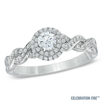 Celebration Fire® 1/2 CT. T.W. Diamond Frame Twist Engagement Ring in 14K White Gold (H-I/SI1-SI2)