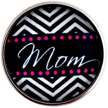 Black Chevron Mom Snap 20mm for Snap Jewelry