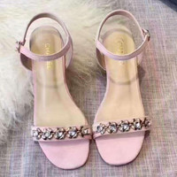 Chanel crystal women High Heel Sandals shoes pink H-ALXY