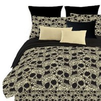 Street Revival Flower Skull Comforter Set, Multi