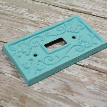 Light Switch Cover, Switch Plate, Shabby Chic Switch Plate, Mint Green, Fleur De Lis, Cast Iron Switch Plate, Painted Light Switch Cover