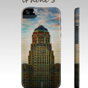 Art Deco Buffalo NY City Hall phone case for iphone 5 Samsung Galaxy S3 iPhone 4 / 4S 3D case Covers purple bold blue