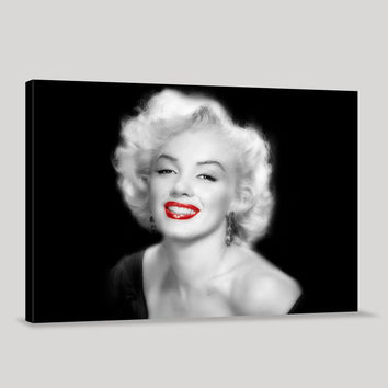 Marilyn Monroe Art Canvas | Large POP ART Canvas Print | Black and Red Marilyn Monroe Canvas Printing |