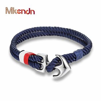 Men Charm Nautical Survival Rope Anchor Bracelets