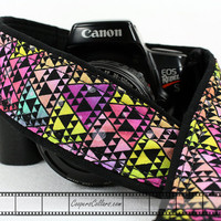 dSLR Camera Strap, Bright Triangles, Tribal, Geometric, SLR, 13 w