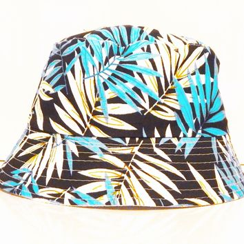 Mens Womens Floral Flower leaf white Blue Bucket Hat Cotton Fishing Holiday sun