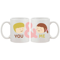 You And Me Matching Couple Mugs Cute Graphic Design Ceramic Coffee Mug Cup