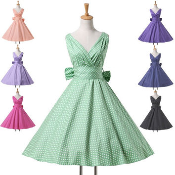 Grace Karin 7 Style Polka Dots Cotton Short Casual Dress 50s 60s Swing Retro Pinup Dress Rockabilly Vintage Dress = 1931774852