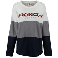 Women's Denver Broncos PINK by Victoria's Secret Navy/Gray/White Bling Varsity Crew Neck Sweatshirt