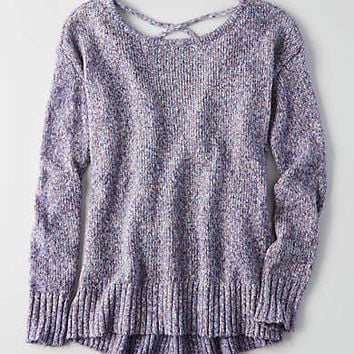 AEO Lace-Up Back Sweater , Lavender