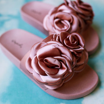 Qupid Satin Rosette Applique Slide Sandal | UrbanOG