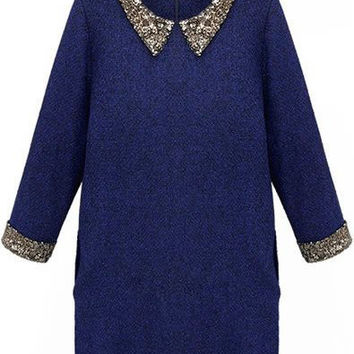 Blue Pointed Flat Collar Sequined Long Sleeve Mini Shift Dress