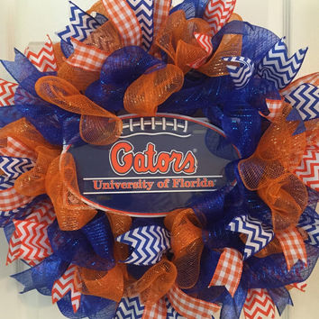 Florida Gators Wreath, Gators Wreath, Orange Blue Wreath, Gators Football, Gators Decor, University of Florida Decor, Collegiate Wreath