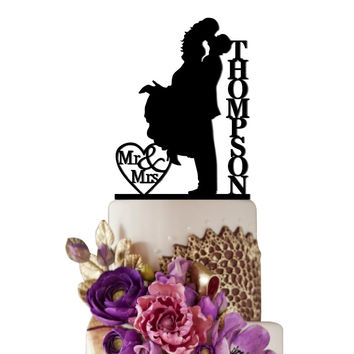 Personalized Wedding Cake Topper Love Kissing Bride