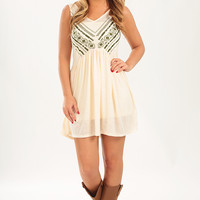 Something You Need Dress: Cream/Green